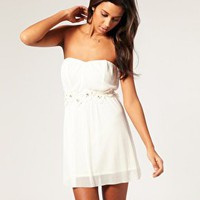ASOS | ASOS Embellished Flower Mesh Bandeau Dress at ASOS
