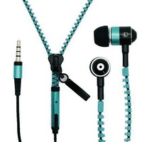 Importer520 Tangle-free Zipper Handsfree Stereo Earphones Earbuds with Microphone for HTC Merge - Blue
