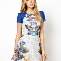 Love Skater Dress In Digital Mirror Print
