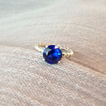 Blue Sapphire Bead Band Ring, Engagement Ring, September Birthstone, Bridesmaids Gifts, Wedding Ring Set