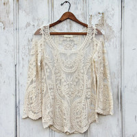 Laced in Snow Blouse in Cream
