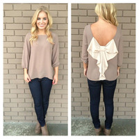 Mocha Two-Tone Bow Back Blouse