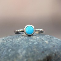 Turquoise Button and Sterling Silver Ring by ThirtySixTen on Etsy