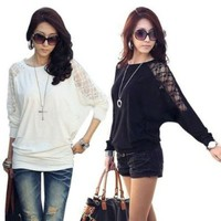 sexy Lace Batwing Dolman Loose Sleeve Casual Top T-Shirt