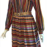 Giazier 1970s Dress with Stripes