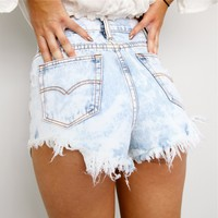 FESTIVAL HIGH WAISTED RIPPED ACID WASHED DENIM CUT OFFS SHORTS 6 8 10 12