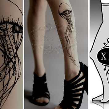 plus size XXL GREY sexy Jellyfish tattoo tights / stockings / full length / pantyhose / nylons