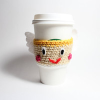 Cupid Coffee Cozy, Valentines Day Cup Sleeve, can cozy, Crochet coffee sleeve, Starbucks Sleeve