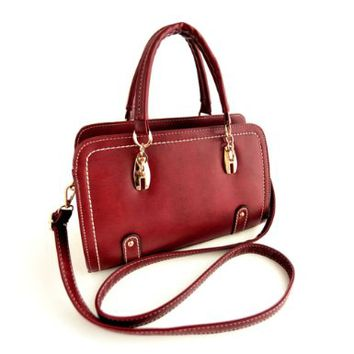 Metallic Rivets Stitching Vintage Tote Handbag Shoulder Crossbody Bag