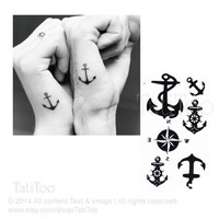 Anchor tattoo set, compass tattoo set- Temporary Tattoo T074