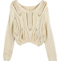 PrettyGuide Women's Long Sleeve Eyelet Cable Lace Up Crop Top