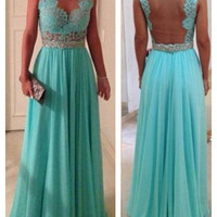 Mint Green Prom Dress, A-Line Exquisite Long Hollow-out Chiffon Prom Dress / Evening Dress with Crystal