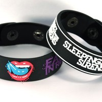 Falling In Reverse And Sleeping With Sirens New 2Pcs(2X) Bracelet Wristband 2Fr6 Mix The Drug In Me Is You