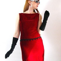 Vintage 1960s Johnathan Logan Red Velvet Dress by gogovintage