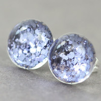 Fake Plugs : Periwinkle Blue Glitter, Taupe Background, 12mm, Galaxy, ArtisanTree