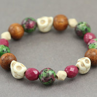 Bohemian Beaded Bracelet : Purple and Green Semi-Precious Beaded Bracelets, Ivory Skull, Rosewood, Handmade in Canada