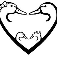 8 Inch Ducks Unlimited Family Heart With Baby Ducks Decal Sticker
