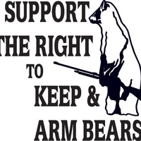 8 Inch Support The Right To Keep And Arm Bears Decal Sticker HNT2(245)