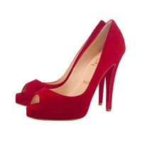 Christian Louboutin Hot red Suede Platform open toe shoes