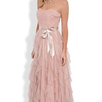 Strapless Long Homecoming Dress with Ruched Bodice and Tendril Skirt