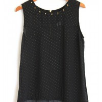 Spike Studded Black Chiffon Tank