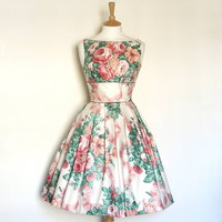 Floral Ribbon Bouquet Prom Dress