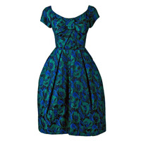 1950's Michael Novarese Blue & Green Floral Garden Print Silk Party Dress