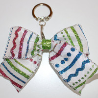 Pink, Green and Blue Design Keychain Bow with an opening and closing clasp
