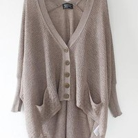 Brown Button Down Hi-Low Hem Knit Cardigan