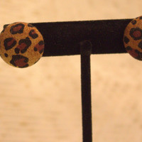 Leopard Button Earrings