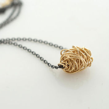 Love Knot Necklace, Layering Jewelry, Delicate Jewelry, Oxidized Necklace, Minimalist Jewelry