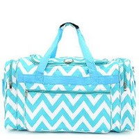 Belvah Aqua Blue & White Chevron Duffle Bag - 22-in