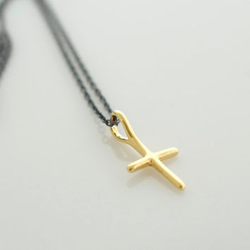 Gold Cross Necklace, Small Cross, Oxidized Necklace, Minimalist Layering Jewelry, Jewels2luv jewelry