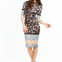 Spot The Animal Scroll Trim Dress