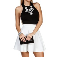 Ivory/Black Colorblock Skater Dress