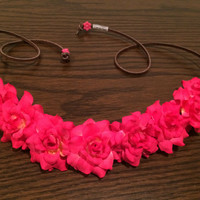 Hot Pink Rose Flower Headband, Flower Crown, Flower Halo, Festival Wear, EDC, Coachella, Ezoo,Ultra Music Festival, Rave