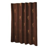Burgundy Shower Curtain with Browning Buckmark Emblems
