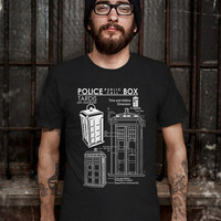 Police Public Call Box T-Shirt - Police Public Call Box Sketch T-Shirt - Tardis Design T Shirt for Men (Various Color Available)