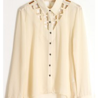 Skull Button Down Caged Blouse - Ivory