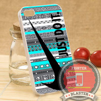 Nike Just Do It on aztec mint pattern - iPhone 4/4s/5/5S/5C Case - Samsung Galaxy S2/S3/S4 Case - Black or White