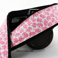 Elephant Camera Strap, Your Choice of Gray, Aqua or Pink, dSLR, SLR, Lucky Elephant, 93