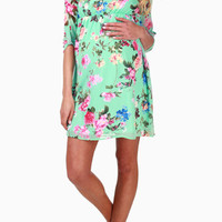 Mint Green Floral Chiffon Maternity Dress