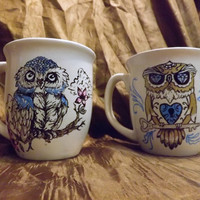 Set of colorful Owl ceramic mugs.. hand drawn