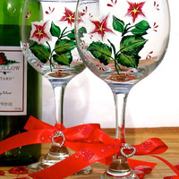 Wine Glasses With Red and White Flowers