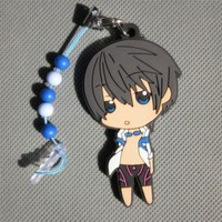 Anime FREE! Iwatobi Swim Club Cell Phone Dust Plug Key Chain #Haruka Nanase