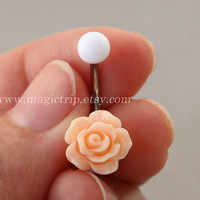 light peach rose Belly Button jewelry,rose Navel Jewelry,rose bud belly button ring,girlfriend gift,summer jewelry