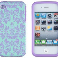 DandyCase 2in1 Hybrid High Impact Hard Sea Green Flower Pattern + Purple Silicone Case Cover For Apple iPhone 4S & iPhone 4 + DandyCase Screen Cleaner