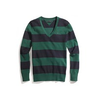 RUGBY STRIPE V-NECK SWEATER | Tommy Hilfiger USA