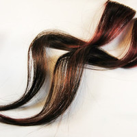 Human Hair Extension - Clip In / Burgundy Red Brown / Short Tie Dye Colored Hair // REDWOOD