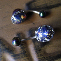 Belly Button Jewelry Ring- Black Opal Stud Bar Barbell Navel Piercing Glass Stone Cabochon Azeetadesigns Azeeta Designs